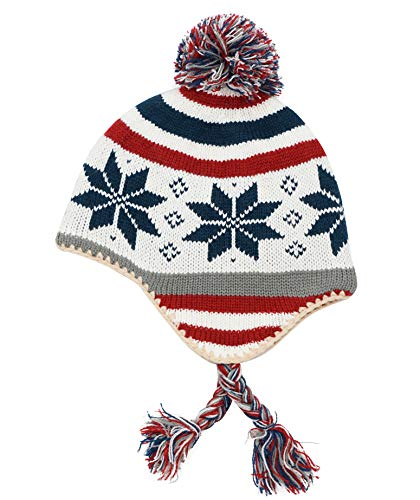 Snowflake Earflap Knit Hat - Connectyle Toddler Infant Baby Knit Kids Hat Fleece Lined Earflap Beanie Hat Warm Winter Skull Cap