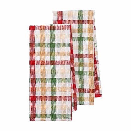 St. Nicholas Square 2-Pack Christmas Kitchen Towels - Woven Plaid Waffle Knit