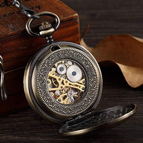 懐中時計、ヴィンテージツリーパターン手巻き懐中時計女性男性フォブメカニカルチェーン絶妙なスケルトンローマ数字ワインドアップギフト