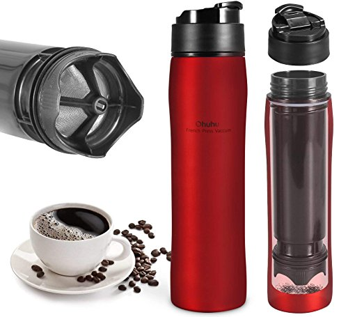 French Coffee Press Travel Mug - Portable French Press Coffee Maker, Ohuhu 12 Oz/350 Ml Coffee Press Travel Mug, Coffee Press for Ground Coffee, 4-6 Hours Cool Insulation Stainless Steel Tea Mug, Keeps Cold & Hot