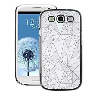 A-type Arte & diseño plástico duro Fundas Cover Cubre Hard Case Cover para Samsung Galaxy S3 (Pattern Black Lines Poly Art Grey Abstract)