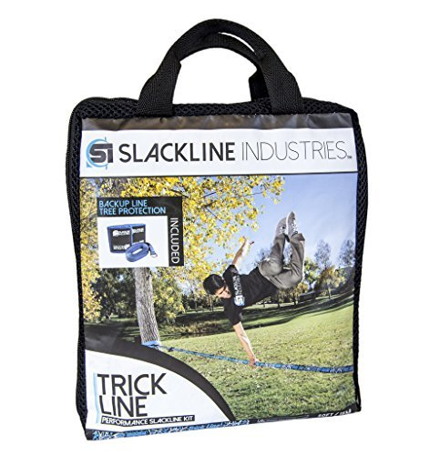 Slackline Industries Trick Line Trampoline Style Slackline Kit with Backup Line, Tree Protectors, Black - Zero Waste, 50-Feet
