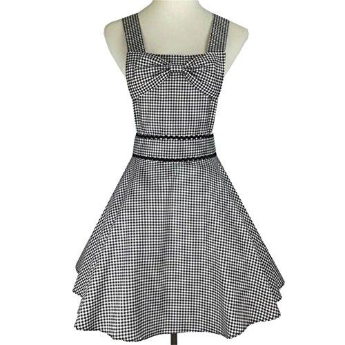 (QEES Women's Apron Lovely Sexy Cotton Black and White Plaid Apron Retro Vintage Fashion Lovely Princess Dress Apron Adjustable Waistband WQ22)