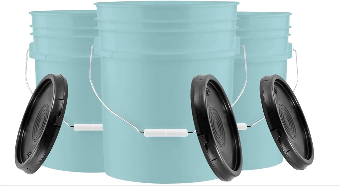 House Naturals Aqua 5 gal Food Grade Plastic Bucket Pail Container with Lid ( Pack of 3) Made in USA