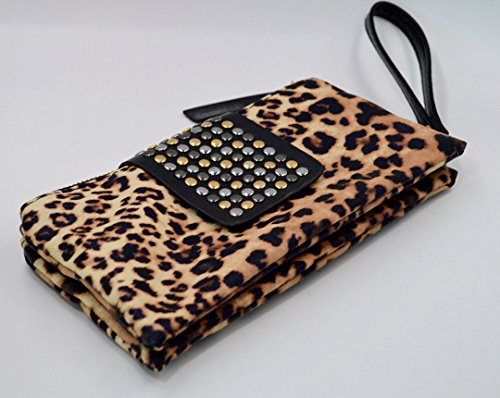 Wallet Women Evening Felice Leather Print Soft Folded Wristlet Bag Rivets Zipper Clutch Leopard AO8xwOq