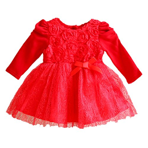 littlespring baby girls dresses flowers princess size 24m red