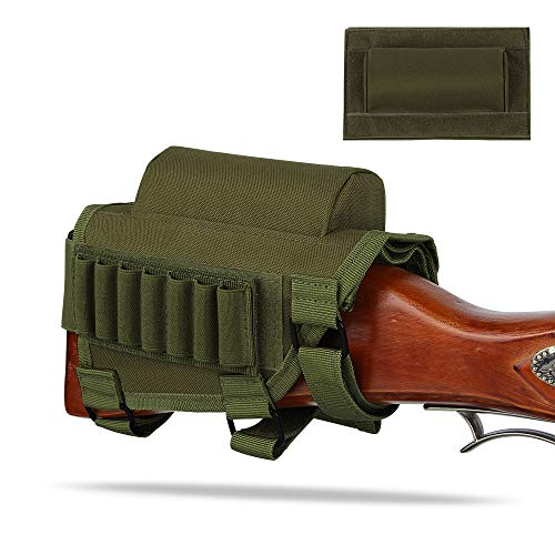 AIRSSON Tactical Buttstock Butt Stock Holder Ammo Pouch Molle 7 Shells Pouch with Cheek Leather Pad .22 .223 Cal .308 30-06 .300 .303 & 7.62mm (Green)