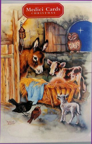 ANIMAL NATIVITY CHRISTMAS CARDS -15 CARDS WITH MATCHING ENVELOPES