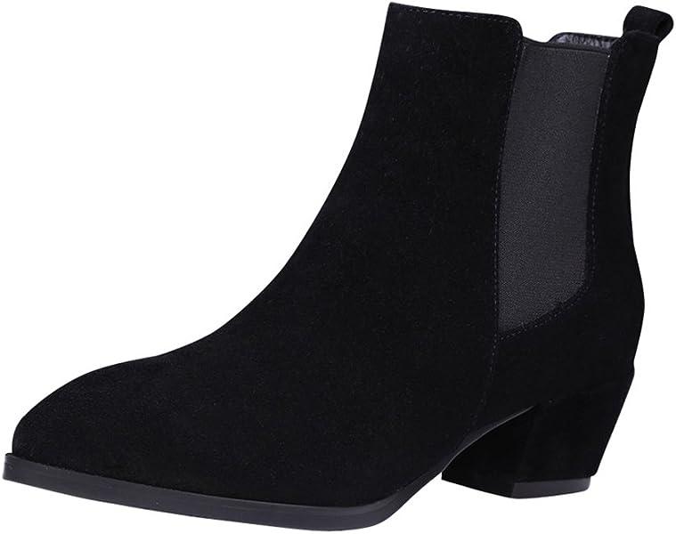 fcbcca712a9 fereshte Ladies Women s Cowhide Leather Mid Block Heel Slip-On Ankle Boot  With Elastic Belt Black 34-2.5 UK  Amazon.co.uk  Shoes   Bags
