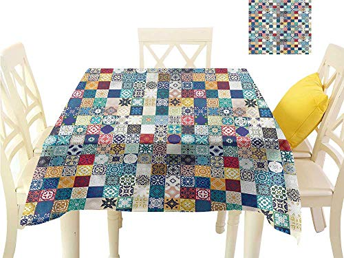 WilliamsDecor Small Tablecloth Moroccan,Ornate Patchwork Motif Square Tablecloth W 60