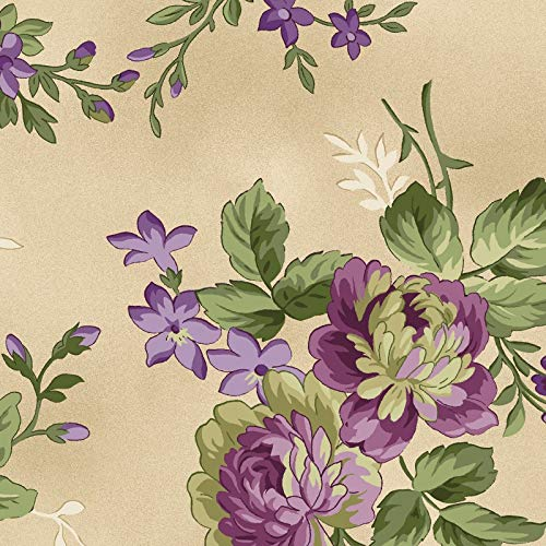 Beautiful Large Floral Bouquets, Tan Background, Aubergine, Debbie Beaves, Maywood Studio, MAS9151-T, by The Yard