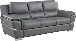 Blackjack Furniture 4572 Binion Collection Faux Leather Match Upholstered Modern Living Room, Sofa, Gray