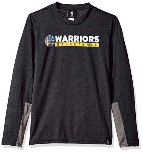 NBA by Outerstuff NBA Youth Boys Golden State Warriors Covert Long Sleeve Performance Tee, Black, Youth X-Large(18)