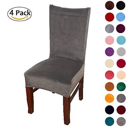 Colorxy Spandex Fabric Stretch Dining Room Chair Slipcovers Home Decor Set of 4, Dark grey (Bar Chair Covers)