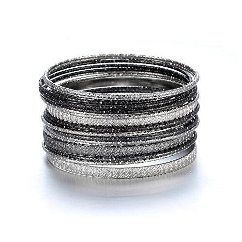 - Ensoul Silver Lt Hematite Multiple Textured Metal Bracelets & Bangles Set for Women 18Pcs/Set