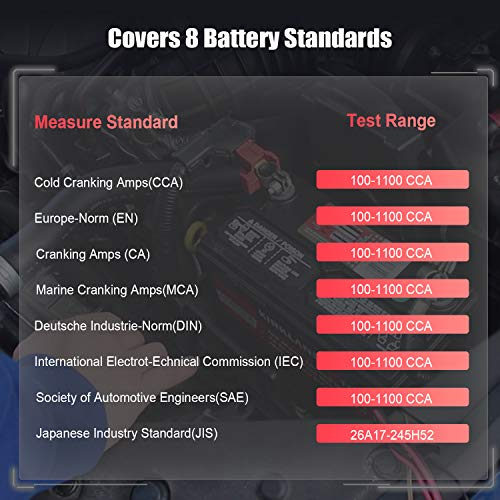 FOXWELL Car Battery Tester Analyzer BT100 Pro 12V Automotive 100-1100CCA Detect Health Faults for Regular Flooded Agm Flat Plate Spiral Gel Batteries