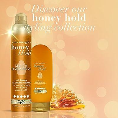 OGX Extra Strength + Honey Hold Mega Hairspray, 8 Ounce Bottle, Hair Spray Extra Hold