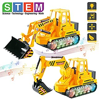 Bump And Go Engineering Construction Vehicles Toy Set with Lights and Sounds, Set of 2 Light Up Electric Toy Trucks - Excavator, Bulldozer - STEM Learning Gifts for Boys, Girls, Toddlers & Kids