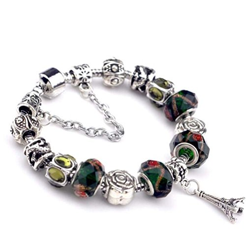 The Starry Night Blackish Green Crystal Beaded Eiffel Tower Pendant Silver Rose Flower DIY Bracelet
