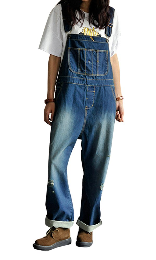 IDEALSANXUN Women's Ripped Loose Fit Casual Overalls Denim Jumpsuits Pants with Multiple Pockets (Large, 1-Dark Blue)