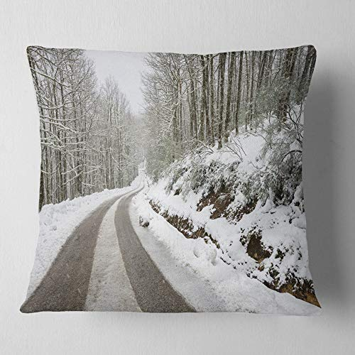 Designart CU14646-26-26 Snow Storm at Piornedo Spain' Landscape Printed Throw Cushion Pillow Cover for Living Room, Sofa, 26 in. x 26 in, Pillow Insert + Cushion Cover Printed on Both Side by Designart