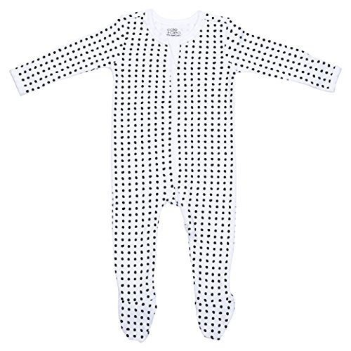 Cole + Cleo Baby Footed Sleeper Pajama - GOTS Certified Organic (0-3, Black Dot)