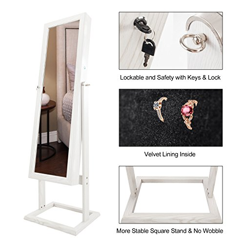 Bonnlo Jewelry Armoire Square Stand with 4 Adjustable Angle Tilting, Well Packed by styrofoam & Stiffer Covering, Lockable Heavy Duty Bedroom Make up Mirror Cabinet Organizer Closet by Bonnlo (Image #2)