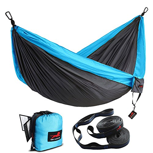 (HONEST OUTFITTERS Double Camping Hammock with Hammock Tree Straps,Portable Parachute Nylon Hammock for Backpacking Travel 118L x 78W Inches Grey/Blue)