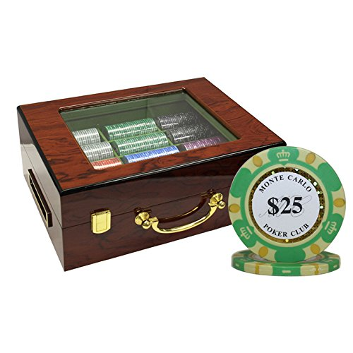 MRC 500pcs Monte Carlo Poker Club Poker Chips Set with Customized Wood Case Custom Build by Mrc Poker