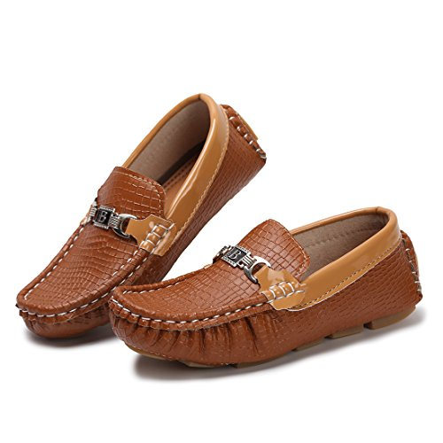 Hawkwell Kids Loafer Moccasin Oxford Driver Shoes(Toddler/Little Kid/Big Kid),Brown PU,12.5 M US