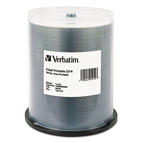 Verbatim Hub IJ Printable CD-R Discs, 700MB/80min, 52x, Spindle, White, 100/Pack by Verbatim