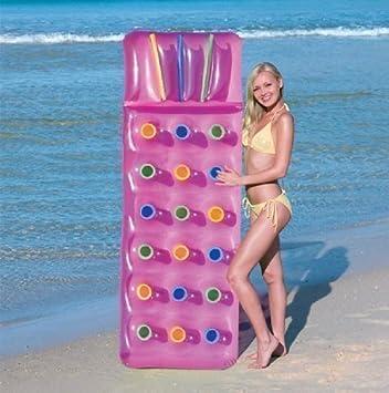 Inflable 18 Bolsillo Moda Sol Playa Piscina Tumbona Lilo Cama de Aire Estera