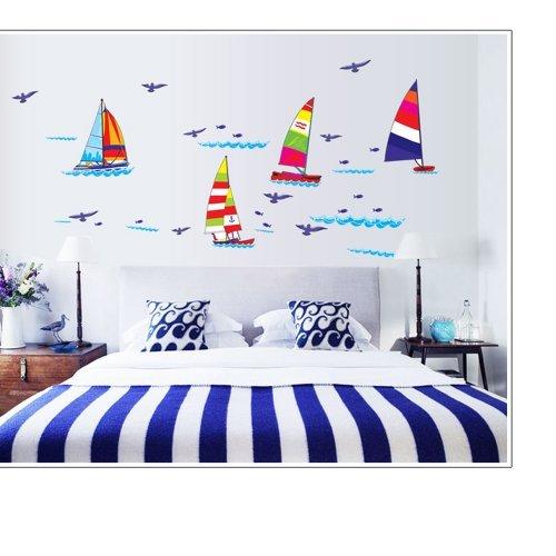Gadfly- Paper Sailboat Painting Peel & Stick Nursery/baby Wa