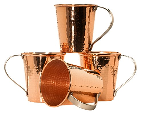 Sertodo Copper CMM-18-4 Moscow Mule Mug Set, Hand Hammered 100% Pure Copper, 18 oz, Set of 4