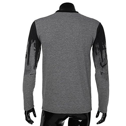 Longue Gris Basique T Top Dégradé Tee Couleur shirts Homme Fit Manche Aimee7 Slim Sweatshirt awOz664