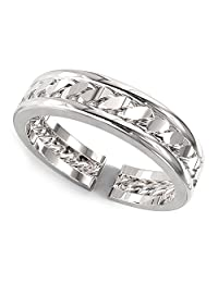 Sterling Silver Link Pattern Adjustable Toe Band Ring