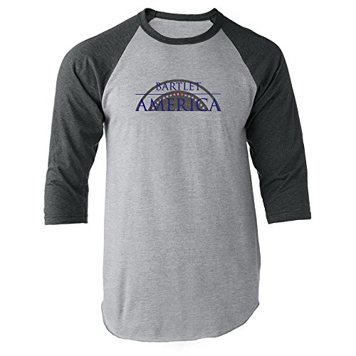 Pop Threads Jed Bartlet for America Presidential Campaign Gray S Raglan Baseball Tee Shirt