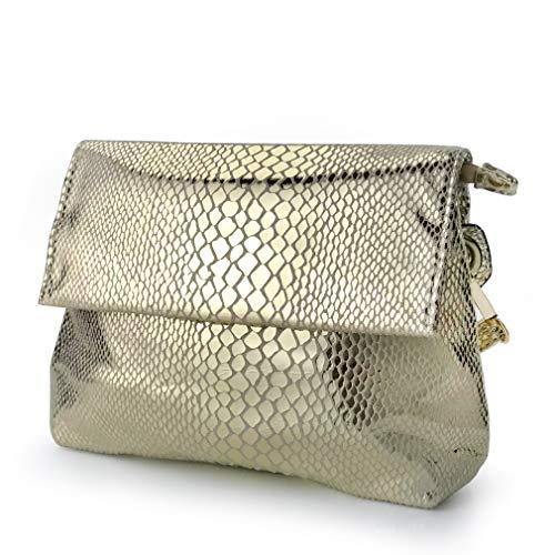 (Shining Evening Clutch Women Cross body Bag Snake Print Purse (Gold))