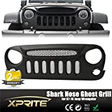 Xprite Front Matte Black Shark Nose Ghost Grille Grid Grill W/ Mesh Insert for Jeep Wrangler 2 & 4 Door Rubicon Sahara Freedom Sport JK JKU 2007-2017