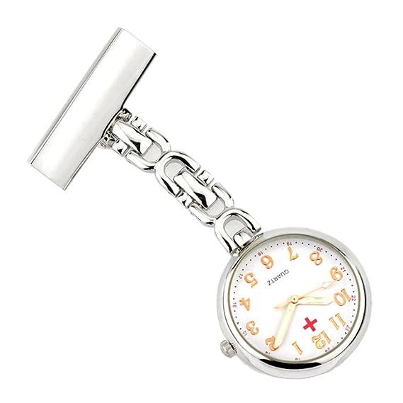 Retro Creativo Broches Portátil Médico Doctor Enfermera Reloj de Bolsillo Colgante con Clip Colgado Escala de