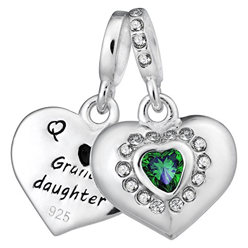 925 Sterling Silver Grandmother & Granddaughter Love Heart CZ European Style Dangle Bead Charm
