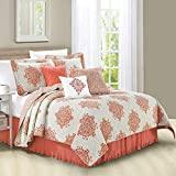 Home Soft Things Serenta 6 Piece Chelsea Printed Microfiber Quilts Coverlet Set, Queen, Coral