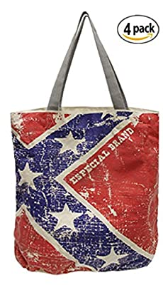 Especial Heavy Duty Cotton Reusable Shopping Tote Bags w/ Vintage Print ( 4 Pack)