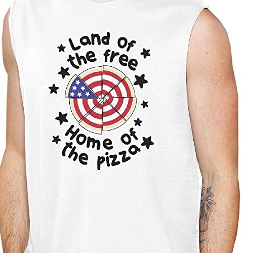 Home Men's 365 Sweater One musculosa Of camiseta Size Shoulder One Pizza Printing blanca The 01q0S