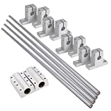 BQLZR 8mm Dia Silver Linear Motion Ball Bearing Rail Guide Support 400mm Shaft Optical Axis Set