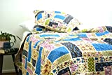 DaDa Bedding Multi-Colorful Floral Blue Patchworked Quilted Coverlet Bedspread Set - Bright Vibrant Striped Brick Print - King - 5-Pieces