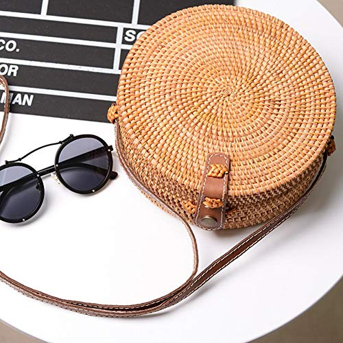 Crossbody redondo estilo Negro retro bolsa blanco paja de tejido ratán para playa de de Bolso verano Raffia a mano x4q181