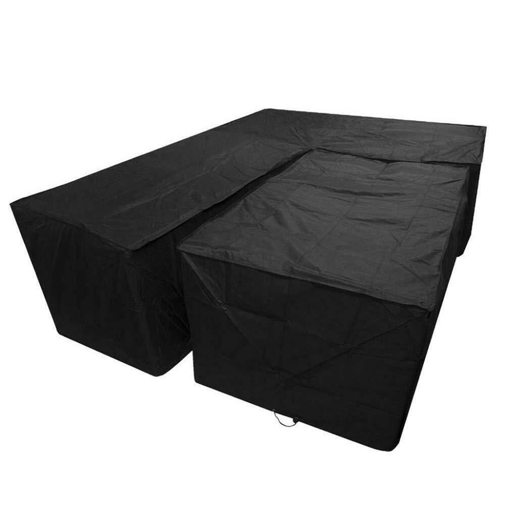 BORNET Negro Impermeable Esquina En Forma De L Cubierta De Sof/á Al Aire Libre Rat/án Patio Muebles De Jard/ín Cubierta Protectora Cubiertas De Polvo De Uso M/últiple,155x95x68cm