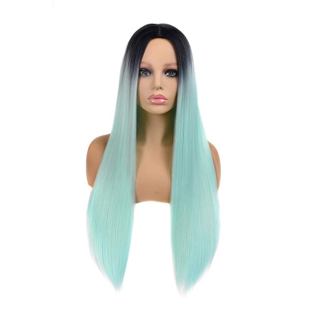 Straight Hair Wig Ombre Wigs for Women Natural Synthetic Fiber Full Wig Long Hair Wig Colorful Halloween Costumes Cosplay Daily Wig with Dark Roots 26inch Heat Resistant Synthetic Wig (Mint Green) by Baby Young