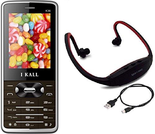 I KALL K36 Dual sim Mobile with MP3/FM Player Neckband  Brown